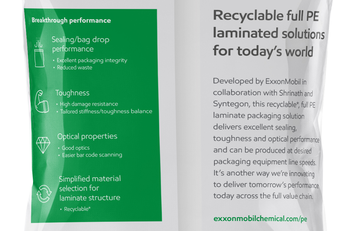 ExxonMobil recyclable pouch packaging detail