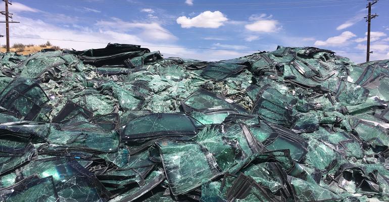mountain of broken windshields
