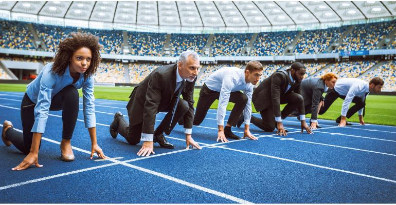businesspeople in a footrace