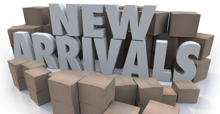 boxes with text new arrivals