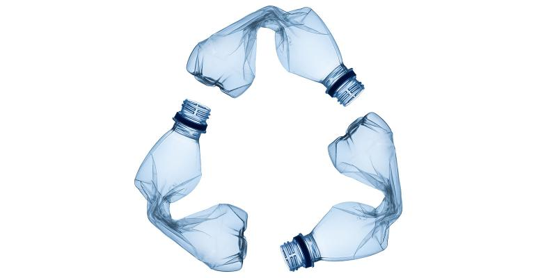 plastic bottles forming recycling symbol
