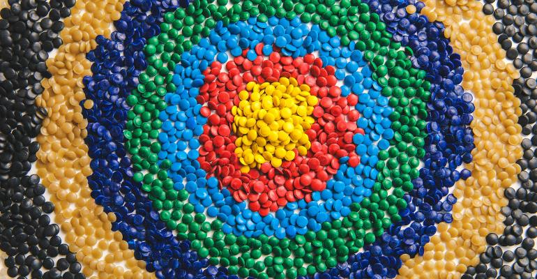 plastic resin forming a target